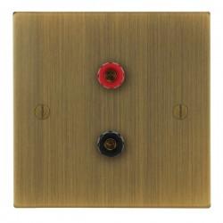 Focus SB Ambassador Square Corners NAAB67.1 1 gang speaker outlet (1 red 1 black 4mm socket) in Antique Brass