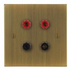 Focus SB Ambassador Square Corners NAAB67.2 2 gang speaker outlet (2 red 2 black 4mm socket) in Antique Brass