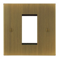 Focus SB Ambassador Square Corners NAABEUR.1 single aperture plate for a single euro module in Antique Brass