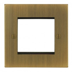 Focus SB Ambassador Square Corners NAABEUR.2 single aperture plate for two single euro modules in Antique Brass
