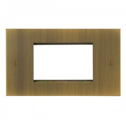 Focus SB Ambassador Square Corners NAABEUR.3 double aperture plate for three single euro modules in Antique Brass