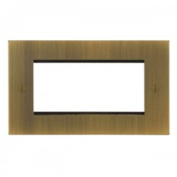 Focus SB Ambassador Square Corners NAABEUR.4 double aperture plate for four single euro modules in Antique Brass