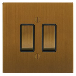 Focus SB Ambassador Square Corners NABA11.2B 2 gang 20 amp 2 way rocker switch in Bronze Antique with black inserts