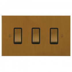 Focus SB Ambassador Square Corners NABA11.3B 3 gang 20 amp 2 way rocker switch in Bronze Antique with black inserts
