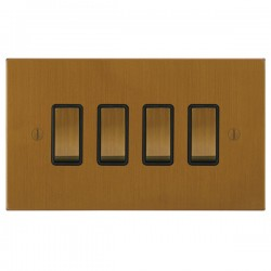 Focus SB Ambassador Square Corners NABA11.4B 4 gang 20 amp 2 way rocker switch in Bronze Antique with black inserts