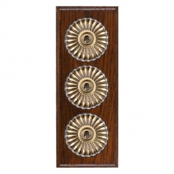 Hamilton Bloomsbury Ovolo Antique Mahogany Fluted Antique Brass 3 Gang 2 Way Toggle with Black Insert
