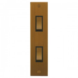 Focus SB Ambassador Square Corners NABA16.2B 2 gang 20 amp 2 way architrave switch in Bronze Antique with black inserts