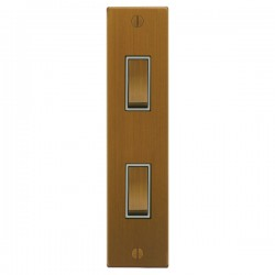 Focus SB Ambassador Square Corners NABA16.2W 2 gang 20 amp 2 way architrave switch in Bronze Antique with white inserts