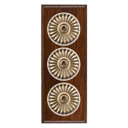 Hamilton Bloomsbury Ovolo Antique Mahogany Fluted Antique Brass 3 Gang 2 Way Toggle with White Insert
