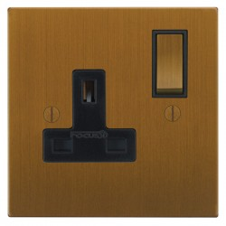 Focus SB Ambassador Square Corners NABA18.1B 1 gang 13 amp switched socket in Bronze Antique with black inserts