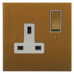 Focus SB Ambassador Square Corners NABA18.1W 1 gang 13 amp switched socket in Bronze Antique with white inserts