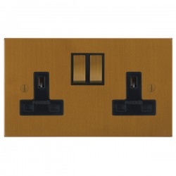 Focus SB Ambassador Square Corners NABA18.2B 2 gang 13 amp switched socket in Bronze Antique with black inserts