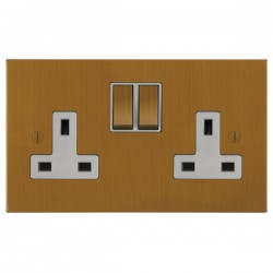 Focus SB Ambassador Square Corners NABA18.2W 2 gang 13 amp switched socket in Bronze Antique with white inserts