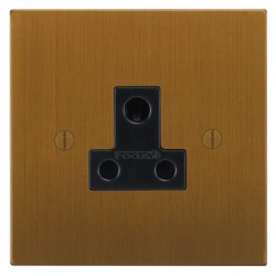 Focus SB Ambassador Square Corners NABA20.1B 1 gang 5 amp unswitched socket in Bronze Antique with black inserts