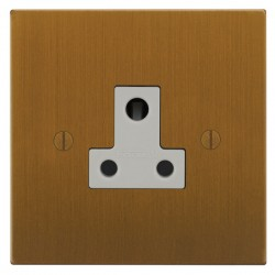 Focus SB Ambassador Square Corners NABA20.1W 1 gang 5 amp unswitched socket in Bronze Antique with white inserts