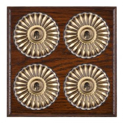 Hamilton Bloomsbury Ovolo Antique Mahogany Fluted Antique Brass 4 Gang 2 Way Toggle with Black Insert