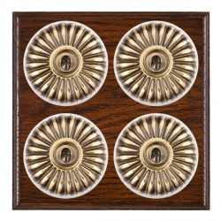 Hamilton Bloomsbury Ovolo Antique Mahogany Fluted Antique Brass 4 Gang 2 Way Toggle with White Insert