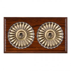 Hamilton Bloomsbury Ovolo Antique Mahogany Fluted Antique Brass 2 Gang Intermediate Toggle with Black Ins...