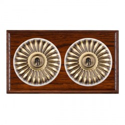 Hamilton Bloomsbury Ovolo Antique Mahogany Fluted Antique Brass 2 Gang Intermediate Toggle with White Ins...
