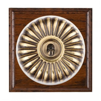 Hamilton Bloomsbury Ovolo Antique Mahogany Fluted Antique Brass 1 Gang Double Pole Toggle with White Insert