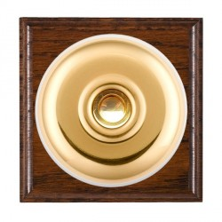 Hamilton Bloomsbury Ovolo Antique Mahogany Plain Polished Brass Bell Push Toggle with White Insert