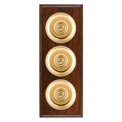 Hamilton Bloomsbury Ovolo Antique Mahogany Plain Polished Brass 3 Gang 2 Way Toggle with Black Insert
