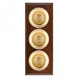 Hamilton Bloomsbury Ovolo Antique Mahogany Plain Polished Brass 3 Gang 2 Way Toggle with White Insert