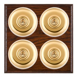 Hamilton Bloomsbury Ovolo Antique Mahogany Plain Polished Brass 4 Gang 2 Way Toggle with White Insert