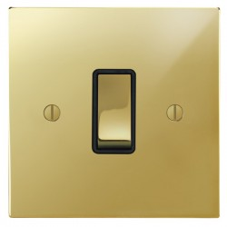 Focus SB Ambassador Square Corners NAPB11.1B 1 gang 20 amp 2 way rocker switch in Polished Brass with black inserts