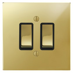 Focus SB Ambassador Square Corners NAPB11.2B 2 gang 20 amp 2 way rocker switch in Polished Brass with black inserts