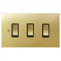 Focus SB Ambassador Square Corners NAPB11.3B 3 gang 20 amp 2 way rocker switch in Polished Brass with black inserts