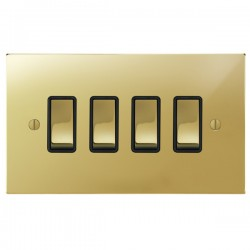 Focus SB Ambassador Square Corners NAPB11.4B 4 gang 20 amp 2 way rocker switch in Polished Brass with black inserts