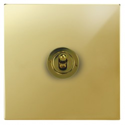 Focus SB Ambassador Square Corners NAPB14.1 1 gang 20 amp 2 way toggle switch in Polished Brass