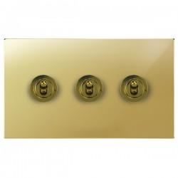 Focus SB Ambassador Square Corners NAPB14.3 3 gang 20 amp 2 way toggle switch in Polished Brass