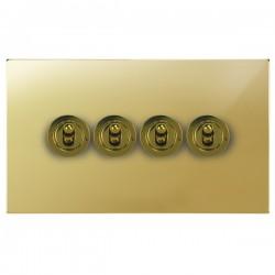Focus SB Ambassador Square Corners NAPB14.4 4 gang 20 amp 2 way toggle switch in Polished Brass
