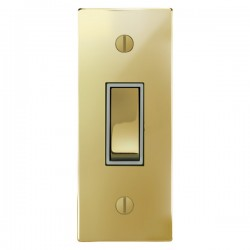 Focus SB Ambassador Square Corners NAPB16.1W 1 gang 20 amp 2 way architrave switch in Polished Brass with white inserts