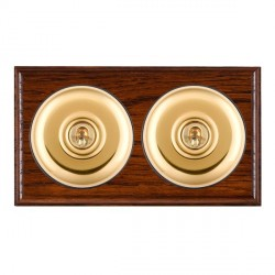 Hamilton Bloomsbury Ovolo Antique Mahogany Plain Polished Brass 2 Gang Intermediate Toggle with Black Ins...