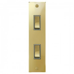 Focus SB Ambassador Square Corners NAPB16.2W 2 gang 20 amp 2 way architrave switch in Polished Brass with white inserts