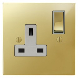 Focus SB Ambassador Square Corners NAPB18.1W 1 gang 13 amp switched socket in Polished Brass with white inserts
