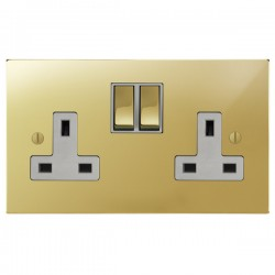 Focus SB Ambassador Square Corners NAPB18.2W 2 gang 13 amp switched socket in Polished Brass with white inserts