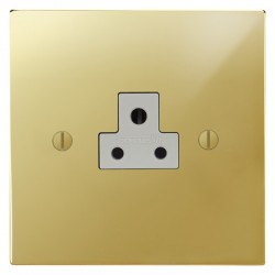 Focus SB Ambassador Square Corners NAPB19.1W 1 gang 2 amp unswitched socket in Polished Brass with white inserts