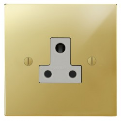 Focus SB Ambassador Square Corners NAPB20.1W 1 gang 5 amp unswitched socket in Polished Brass with white inserts