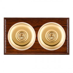 Hamilton Bloomsbury Ovolo Antique Mahogany Plain Polished Brass 2 Gang Intermediate Toggle with White Ins...