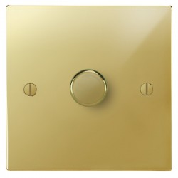 Focus SB Ambassador Square Corners NAPB21.1 1 gang 2 way 250W (mains and low voltage) dimmer in Polished Brass