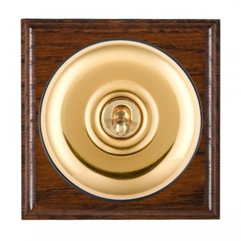 Hamilton Bloomsbury Ovolo Antique Mahogany Plain Polished Brass 1 Gang Double Pole Toggle with Black Insert