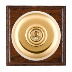 Hamilton Bloomsbury Ovolo Antique Mahogany Plain Polished Brass 1 Gang Double Pole Toggle with White Insert