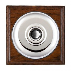 Hamilton Bloomsbury Ovolo Antique Mahogany Plain Bright Chrome Bell Push Toggle with Black Insert