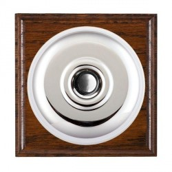Hamilton Bloomsbury Ovolo Antique Mahogany Plain Bright Chrome Bell Push Toggle with White Insert