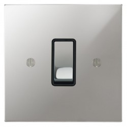 Focus SB Ambassador Square Corners NAPC11.1B 1 gang 20 amp 2 way rocker switch in Polished Chrome with black inserts