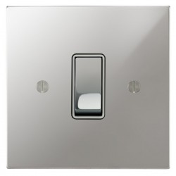 Focus SB Ambassador Square Corners NAPC11.1W 1 gang 20 amp 2 way rocker switch in Polished Chrome with white inserts
